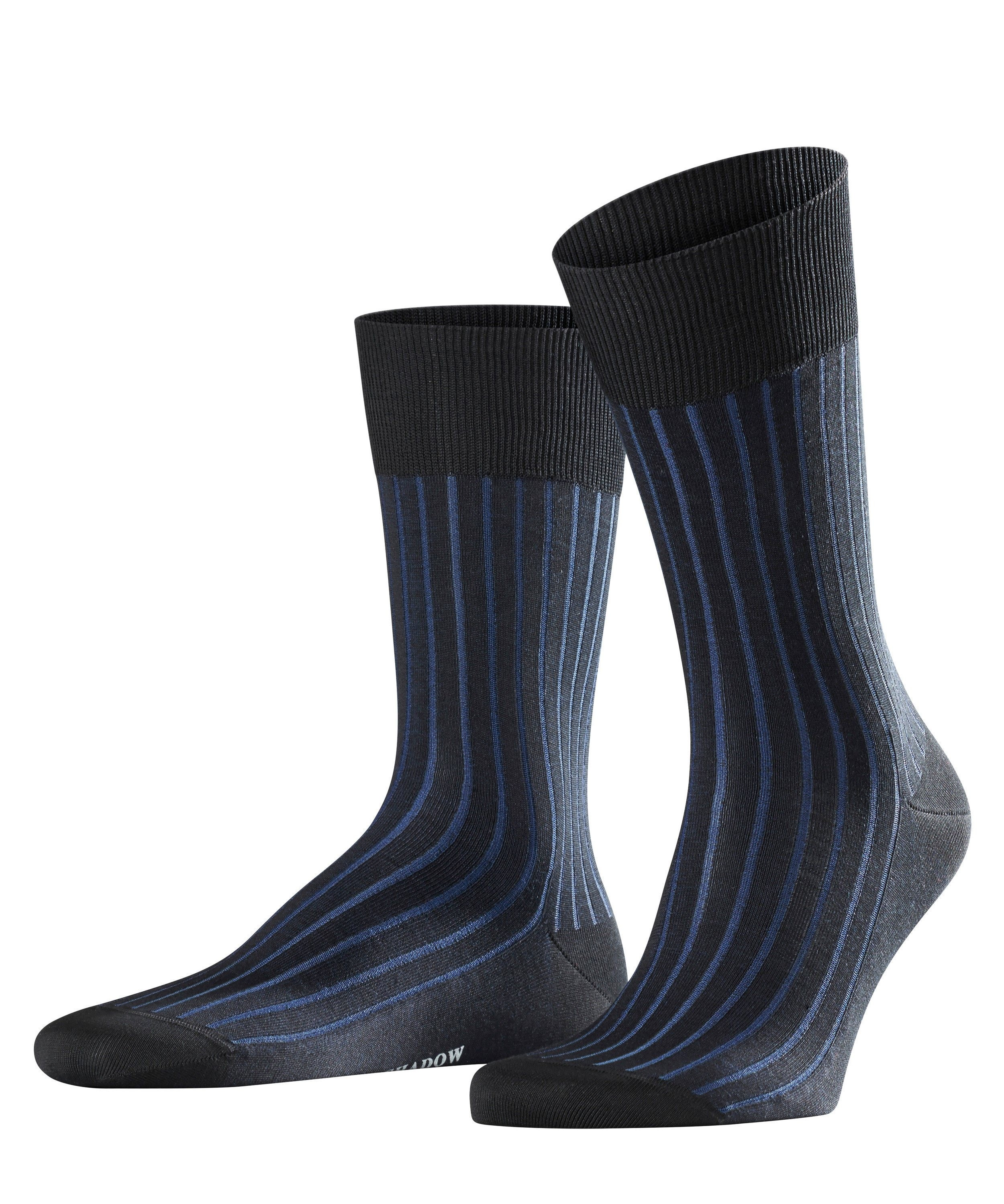 Chaussette Rayée Homme - 95% Coton - Falke Men Shadow 14648 Black/Blue 3003