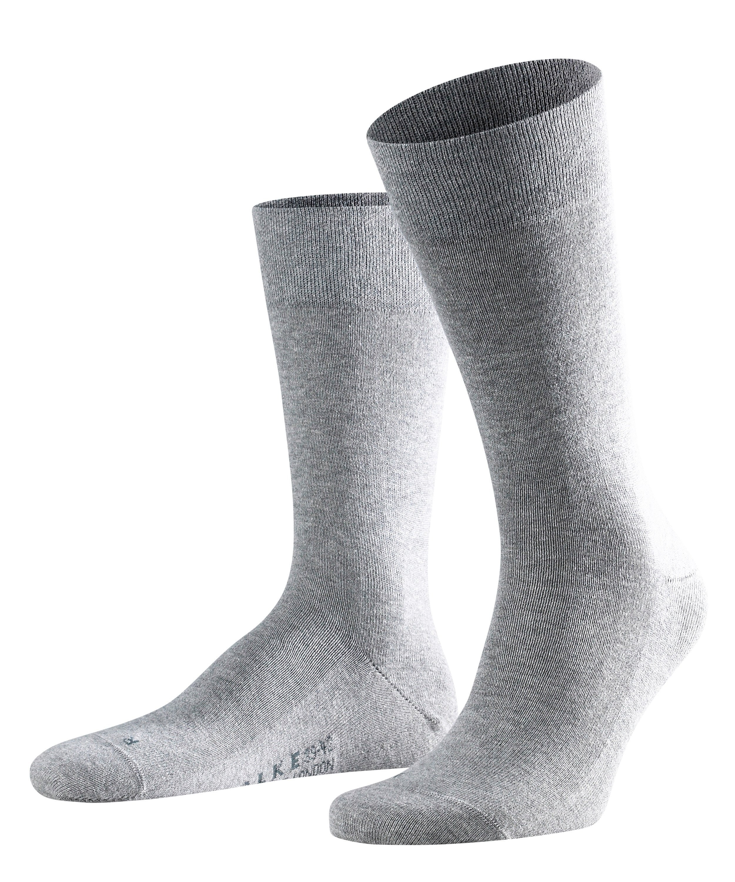Chaussette Homme Sans Elastiques - 94% Coton - Falke Men Sensitive London 14616 Gris Light Mel 3390