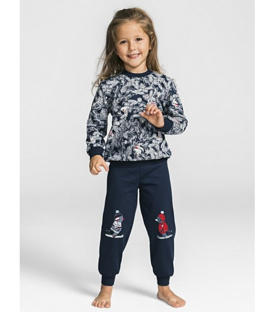 "Pyjama long - 100% coton - Calida ""Family Time"" 54475 - Bleu"