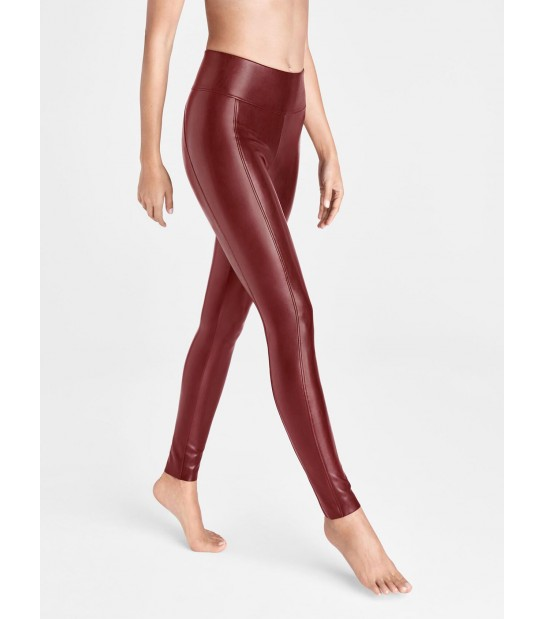 "Legging en cuir Vegan - effect sculptant - Wolford ""Edie Forming Leggings"" 19298 - Bordeau Currant 3130"